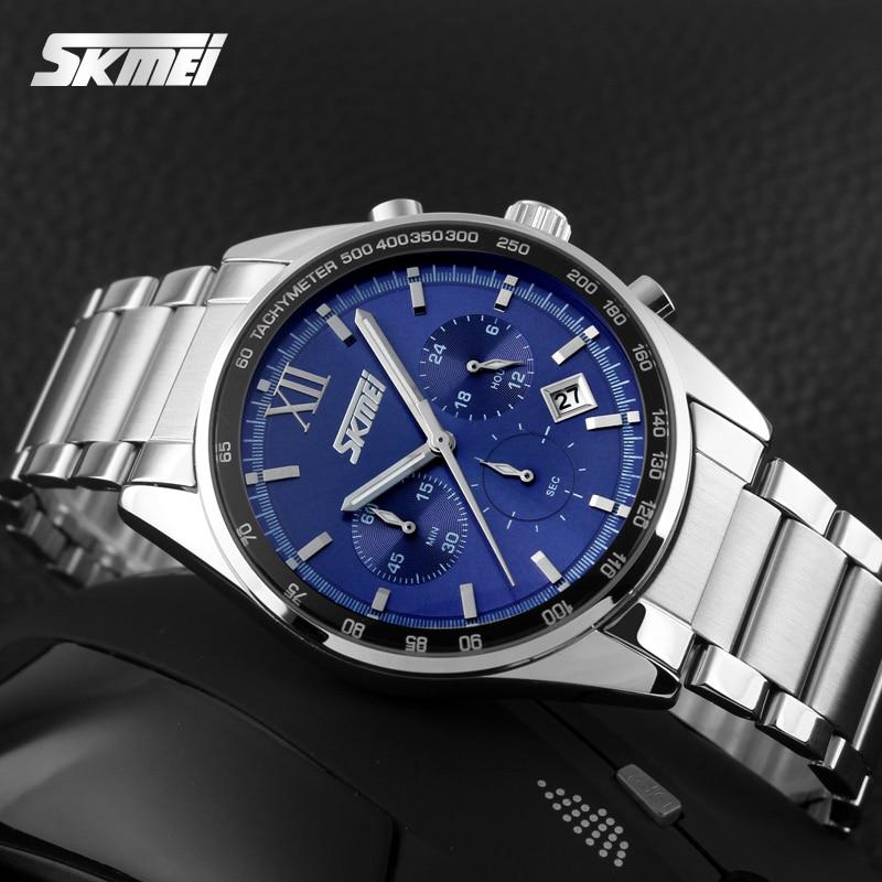 Prix pour Top Marque De Luxe SKMEI Chronographe 6 Fonction Main Militaire Hommes Montre En Acier Plein Quartz Montres Marque Reloj Deportivo Hombre