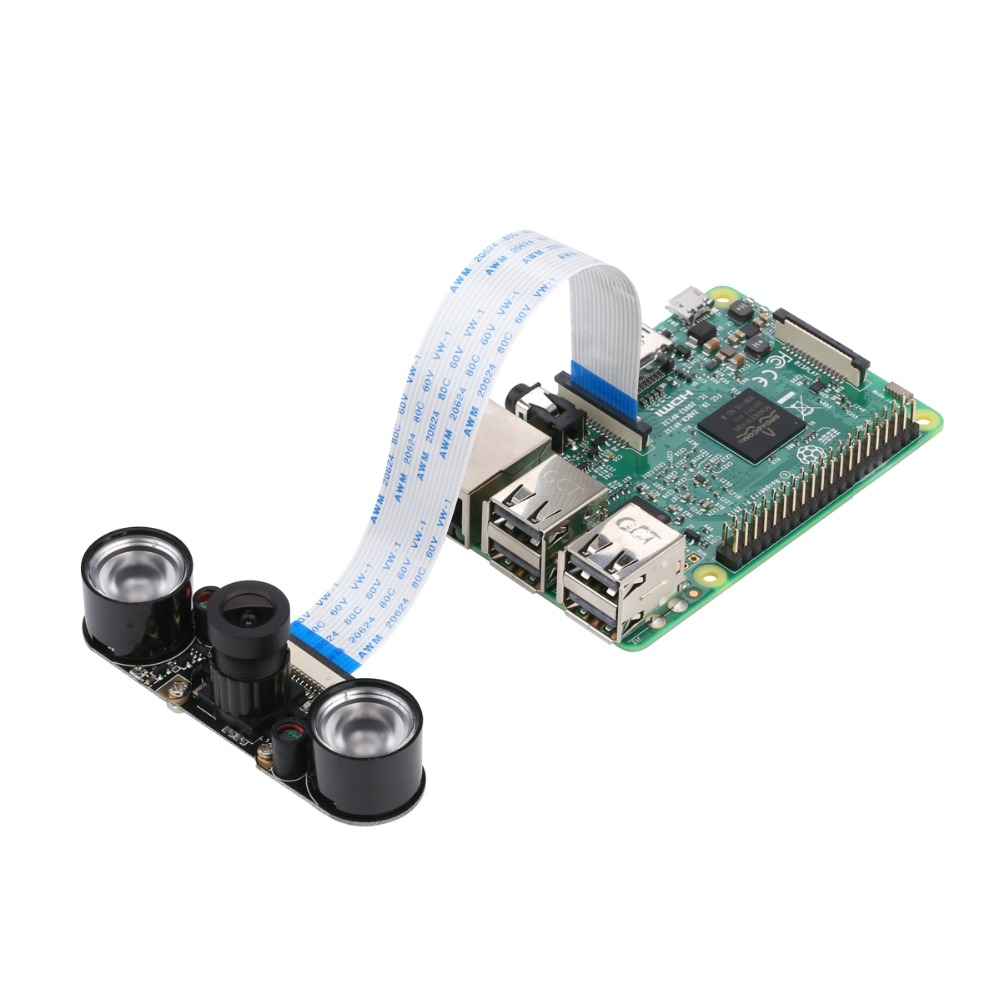 US $12 85 32% OFF|Raspberry Pi 3B+ Camera Module Night Vision Camera with  3 6mm Adjustable Focal Length 2pcs IR Sensor LED Light 1080P for RPI 3-in