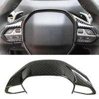 Carbon Fiber Steering Wheel Button Trim Cover Sticker Steering Wheel Decorative Frame Accessories For Peugeot 3008