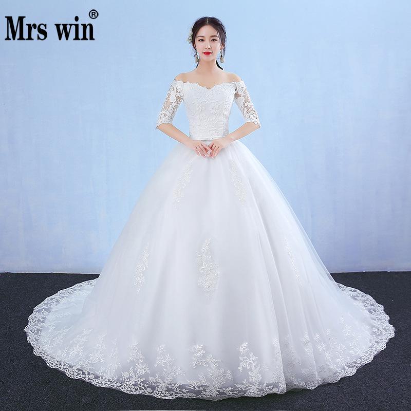 Wedding Dress 2018 The Bridal Half Sleeve Sexy V-neck Classic Embroidery Sweep Train Ball Gown Princess Vestido De Noiva F