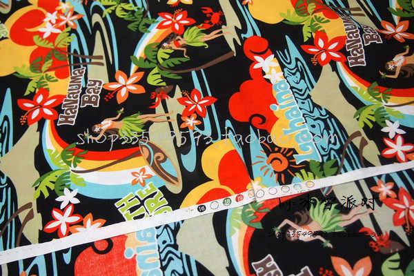 105 centimetri di Larghezza Hawaii Bellezza sulla Spiaggia Sfondo Nero Tessuto di Cotone per la Donna Della Ragazza Abiti Vestiti di Cucito Patchwork DIY-AFCK456