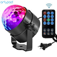 Artpad Sound Activated LED Disco Light Home Stage Lighting Effect Lamp 3W RGB Magic Crystal Ball