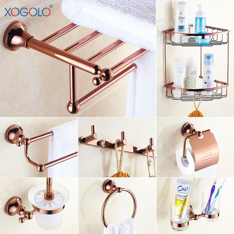 Xogolo copper plated rose gold wall mounted fashion bath for Rose gold bathroom accessories sets