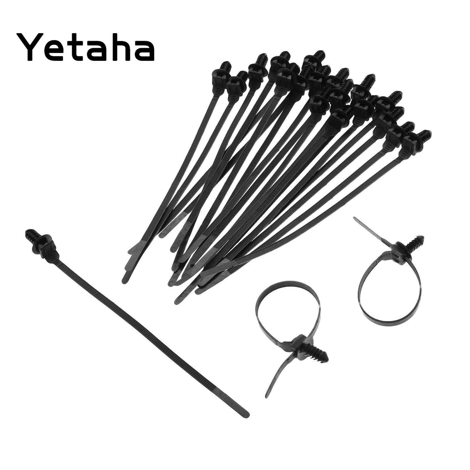 Yetaha 30 Pcs Nylon Black Car Cable Strap Push Mount Wire