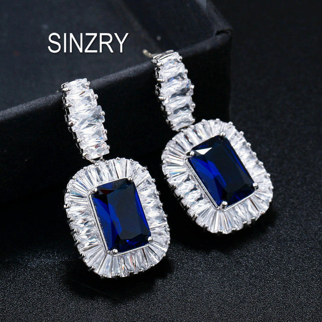 SINZRY white color luxury big zircon queen vintage bridal wedding jewelry earrings wholesale jewelry