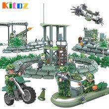 Kitoz спецназ Камуфляж Армейская фигурка джунгли Коммандо амфибия Военная война Строительный Блок Игрушка совместима с lego