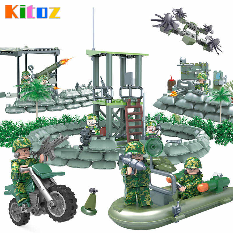 Kitoz Special Forces Camouflage Army Figure Jungle Commandos Amphibious Military War Building Block Toy Compatible with lego