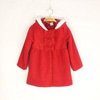 여자 아기 빨간색 모직 겉옷 재킷 여자 두꺼운