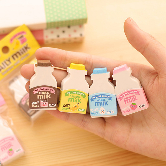 Kawaii Fruit Milky Mini Rubber Eraser Creative Correction Stationery School Supplies Gift For Kids