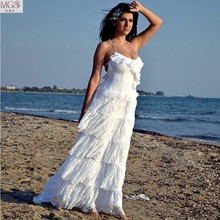 New Arrival 2016 White Beach Wedding Dresses Scoop Backless Vestido De Noiva Floor-Length Tiered Lace Ruched Bridal Gown