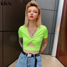 Kliou V-hals hollow out neon geel Shirts korte mouw 2019 zomer vrouwen fashion party casual streetwear vrouwelijke crop tops(China)