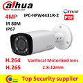 $ NUMBER MP cámara IP Dahua IPC-HFW4431R-Z 2.8mm ~ 12mm varifocal lente motorizado H.265/H.264network cámara IR 80 M POE cctv cámara de $ number MP