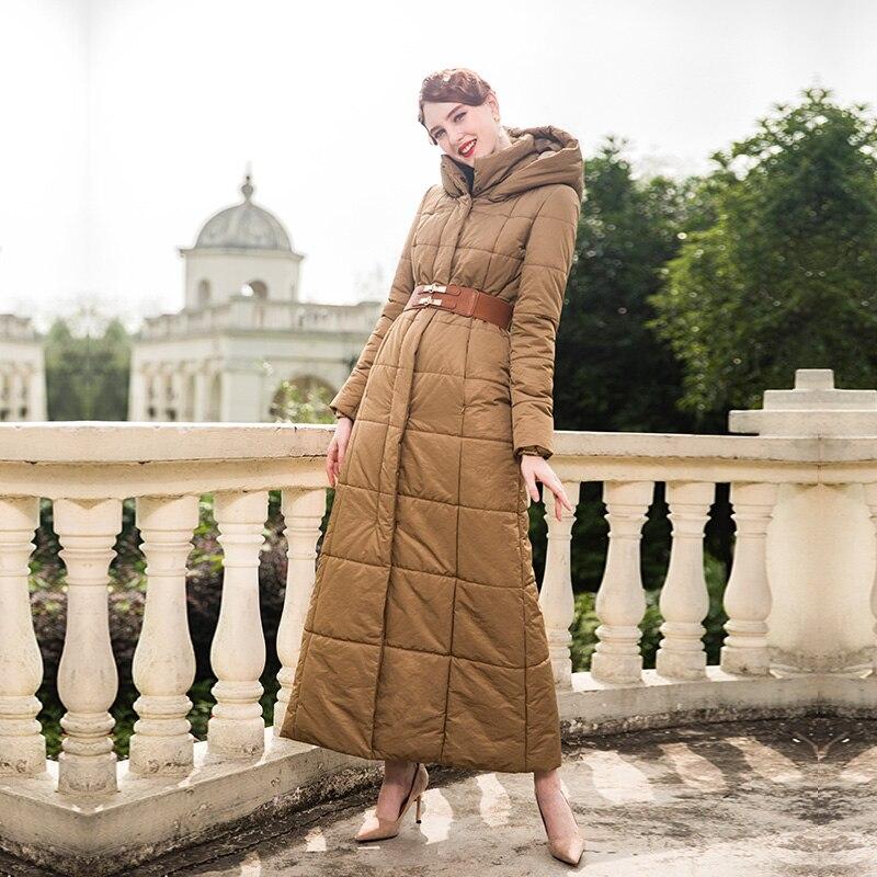 Parka d'hiver longue de haute qualité Cap Parka veste bouffante femmes kaki Long manteau grande taille X longue veste vêtements d'extérieur chauds 9003