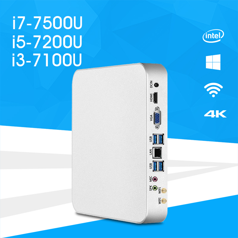 Мини-ПК i7-7500U i5-7200U i3-7100U Windows 10 и 8,1 HD Графика 620 4 К UHD HDMI VGA двойной Дисплей 6x USB Wi-Fi HTPC игр PC