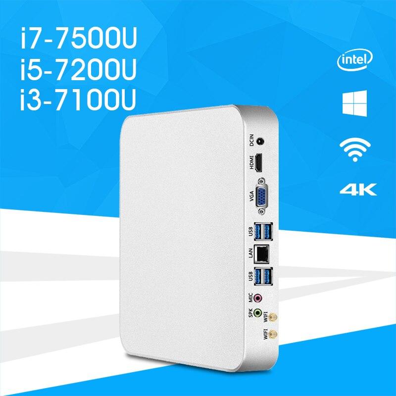 Mini PC i7-7500U i5-7200U i3-7100U Windows 10 & 8.1 HD Graphics 620 4K UHD HDMI VGA Dual Display 6x USB WiFi HTPC Gaming PC