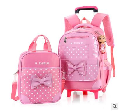 School Trolley Backpack Bag For Girls School Bag With Wheels For Girls Kid's Rolling Luggage Bags Wheeled Backpacks For Girls