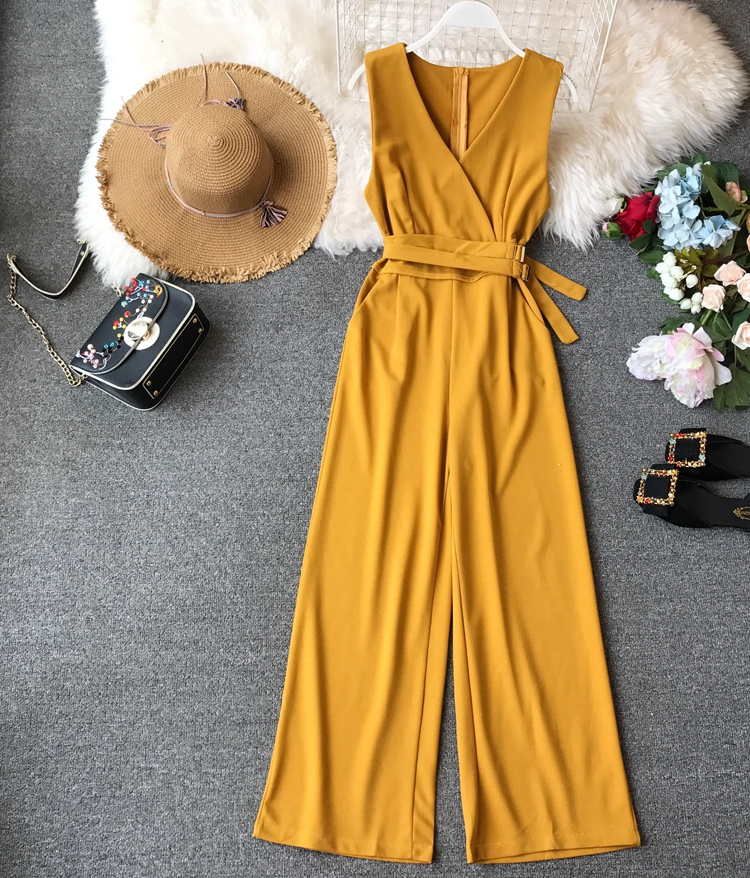 ALPHALMODA 2019 Spring Ladies Sleeveless Solid Jumpsuits V-neck High Waist Sashes Women Casual Wide Leg Rompers 58