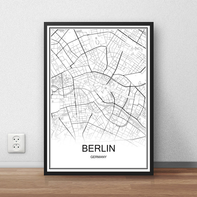 Berlin germany city street map print poster abstract coated paper bar cafe pub living room home