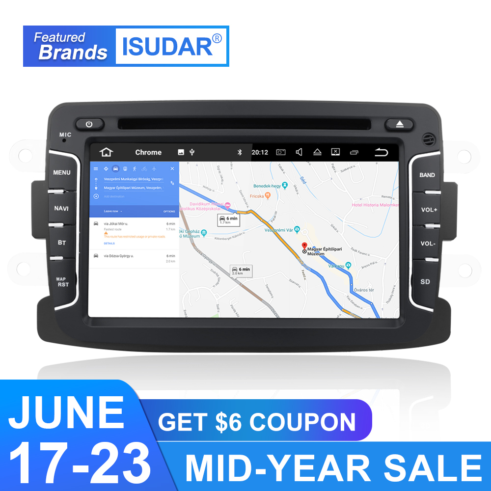 Isudar Car Multimedia Player Android 9 For Dacia/Sandero/Duster/Renault/Captur/Lada/Xray 2/Logan 2 Auto Radio GPS 1 Din DSP DVR