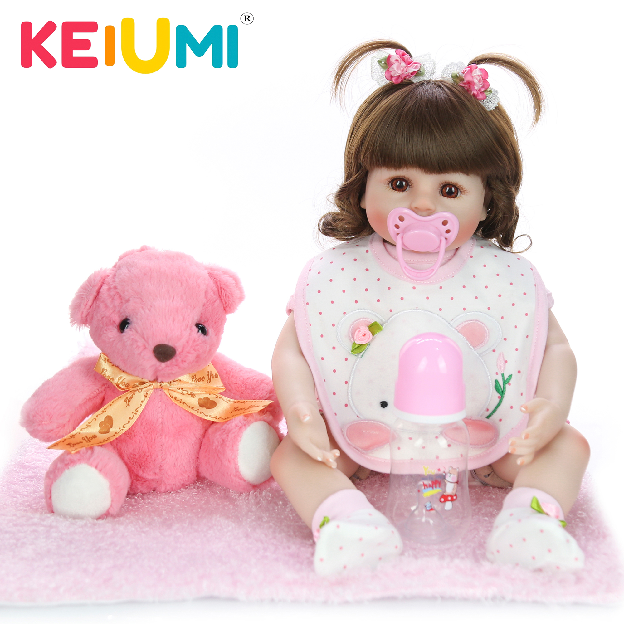 KEIUMI New Design 18 Inch Reborn Baby Doll Lovely Soft Silicone Cloth Body Realistic Baby Toy