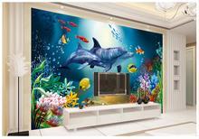 Custom 3d wallpaper for walls 3 d wall murals HD deep sea marine dolphin children room backdrop paper deocr