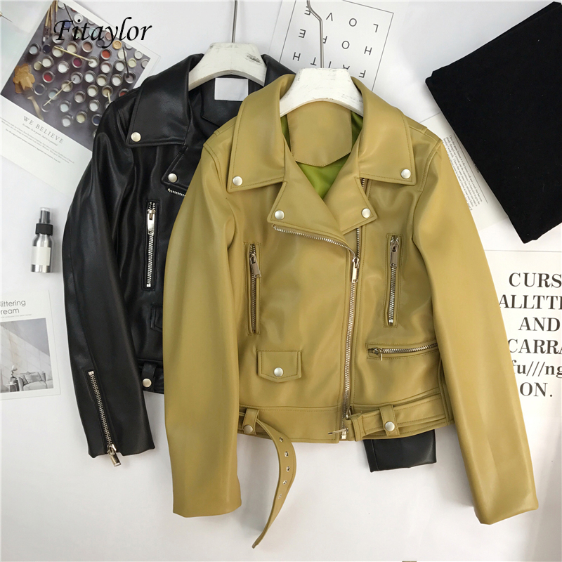 Fitaylor Autumn Women Faux Soft Leather Motorcycle Jacket Coat Pu Black Punk Zipper Overcoat Female High quality Short Outerwear-in Leather Jackets from Women's Clothing on AliExpress - 11.11_Double 11_Singles' Day 1