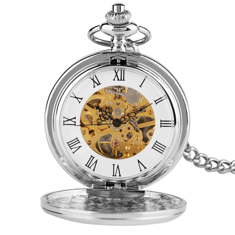 Hand-Winding Mechanical Pocket Watch Roman Numerals Display Silver Smooth Hunters Design Pendant Clock With 30 Cm Hanging Chain