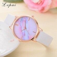 2018 Lvpai Brand Women Watches Luxury Leather Strip Marble Dial Dress Wristwatch Ladies Gift Quartz Clock Relogio feminino