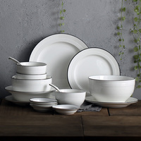 Simple European style ceramic bowl plate set family 4 dishes combination China Bone