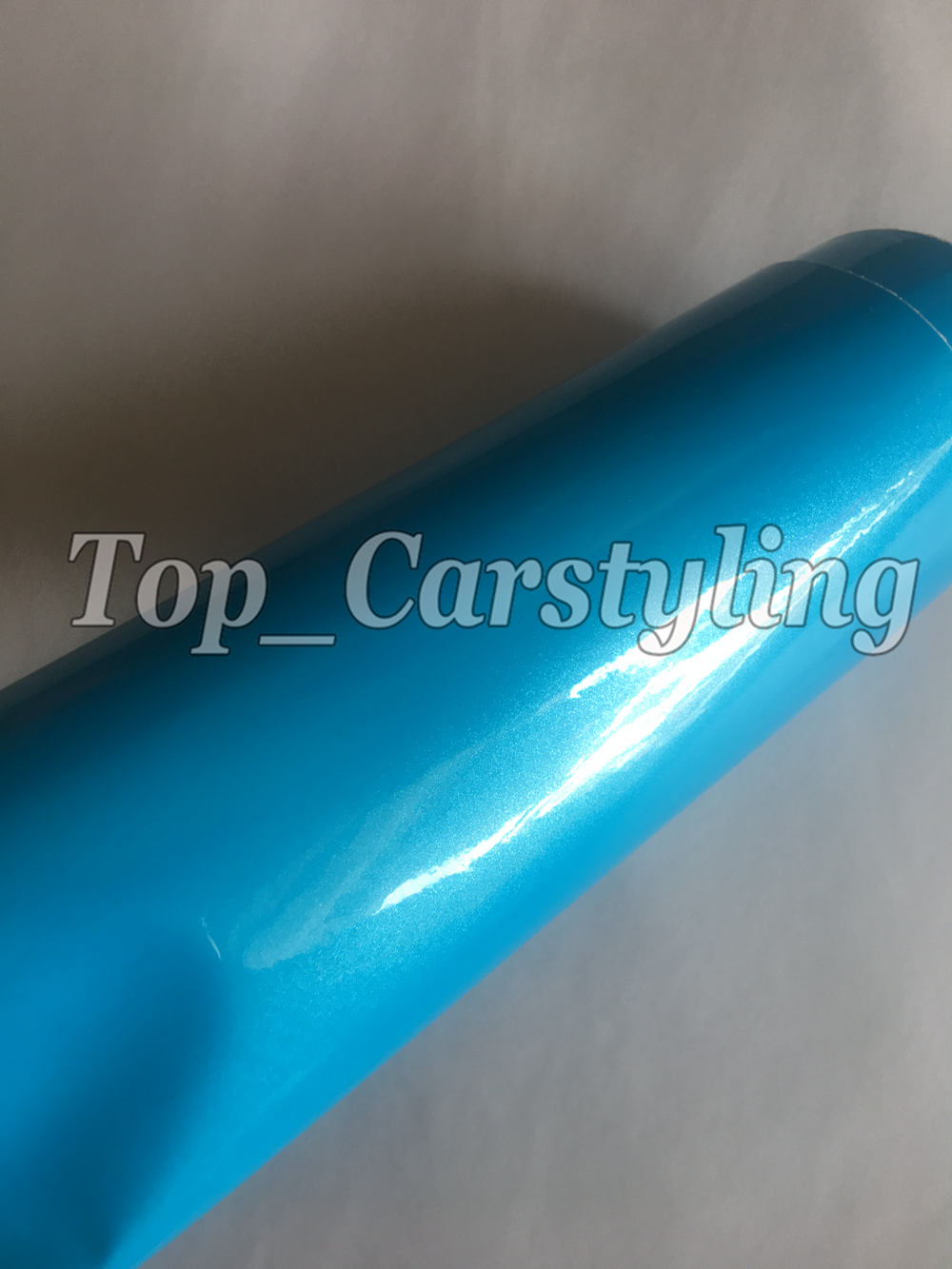 Baby Blue Gloss Metallic Vinyl For Car wrap covering Stickers With Air bubble Free PROTWRAPS 1.52x20m 5x67ft