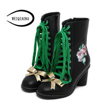 2016 Autumn winter Women Ankle Boots Golden bow-knot Flowers Lace-Up Martin boots high heels gothic shoes zapatos mujer