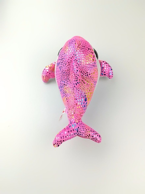 1pcs 18cm Hot Sale Ty Beanie Boos Big Eyes Pink Dolphin Plush Toy