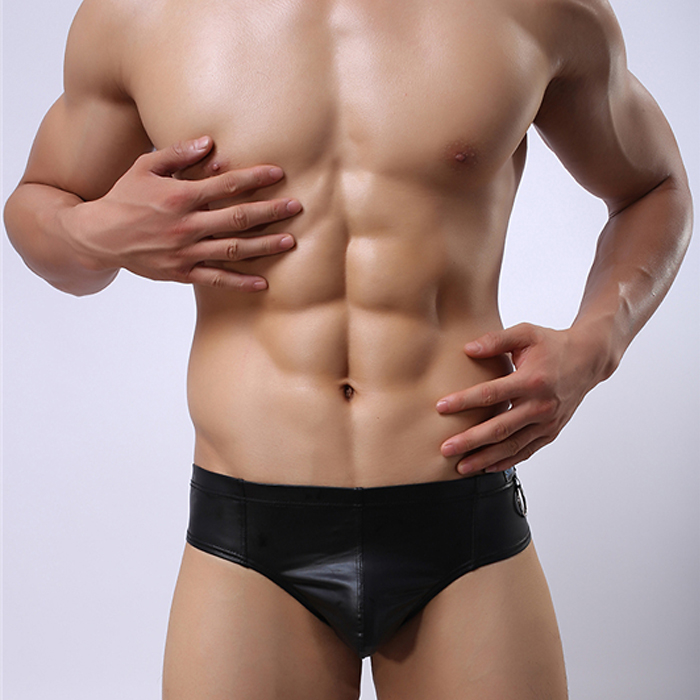faux Leather men's underwear briefs network Body personalized fashion costumes stage performance black