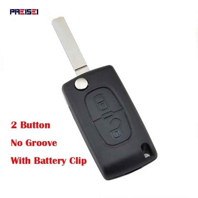 PREISEI 20ks / šarže 2 knoflíky CE0536 Bez drážky Flip Car Remote Key pro Peugeot 307 Key Blanks Shell s bateriovým klipem