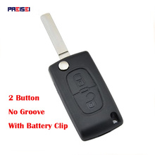 PREISEI 20pcs/lot 2 Buttons CE0536 No Groove Flip Car Remote Key For Peugeot 307 Key Blanks Shell With Battery Clip