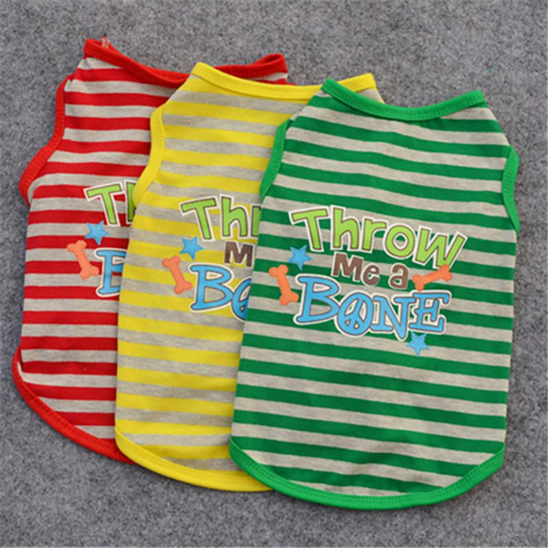 New Fashion 3 Colors Pet Dog T-shirt Printing Cool Stripe Round Neck High Quality For Pet Clothing Supplies XS-L