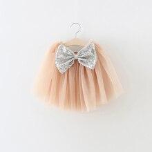 Silver Golden Sequined Bow Baby Girls Tutu Skirt Fashion Party Birthday Layered Girl Children Pettiskirt