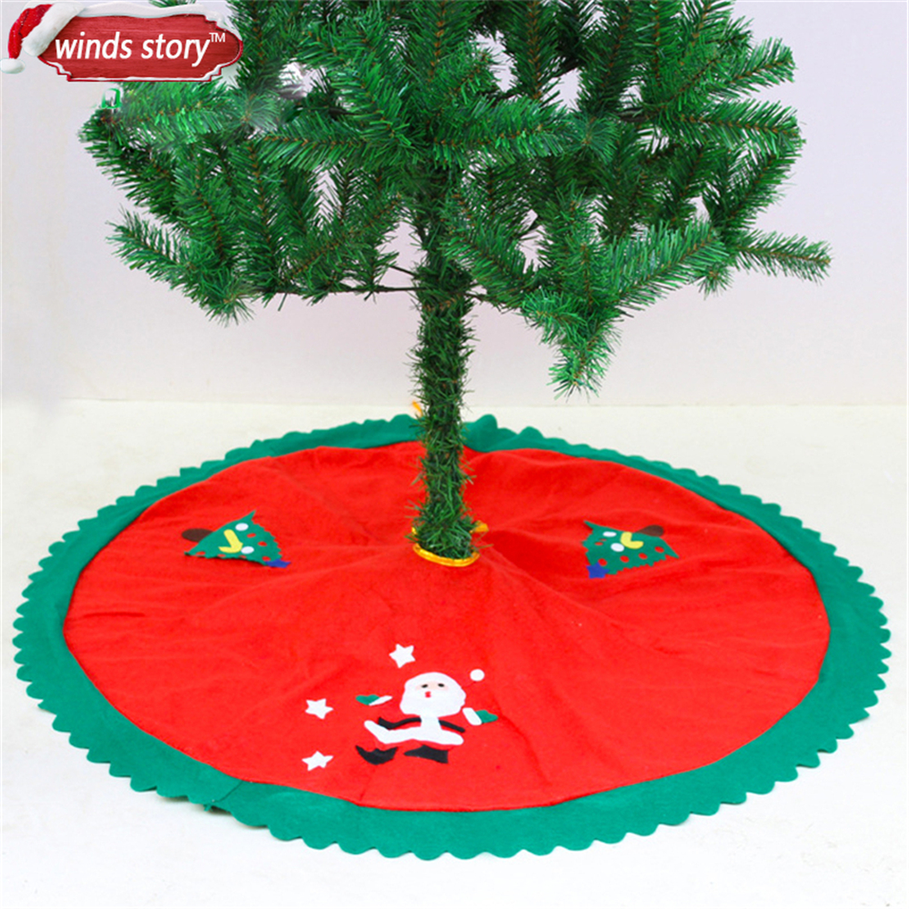 Christmas Base.Us 4 27 1 Pieces 90cm Christmas Tree Skirt Base Cover Decor Blanket Cloth Paste Santa Claus Pattern Xmas Tree Skirts Covers Decorations In Tree
