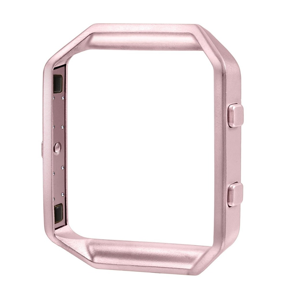 FOHUAS Replacement Accessory Stainless Steel Frame for Fitbit Blaze Smart Watch Rose Gold Strap carlywet 23mm black 316l stainless steel replacement watch strap belt bracelet with case metal frame for fitbit blaze 23 watch