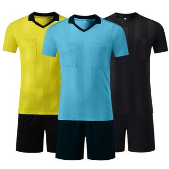 Profesjonalne koszulki sędzia piłkarski koszulki sędzia zestawy wielobarwne opcjonalne mundury sędzia piłkarski z dekoltem w szpic tanie i dobre opinie NoEnName_Null Poliester Pasuje prawda na wymiar weź swój normalny rozmiar Men Soccer Referee Uniforms Black Yellow Blue