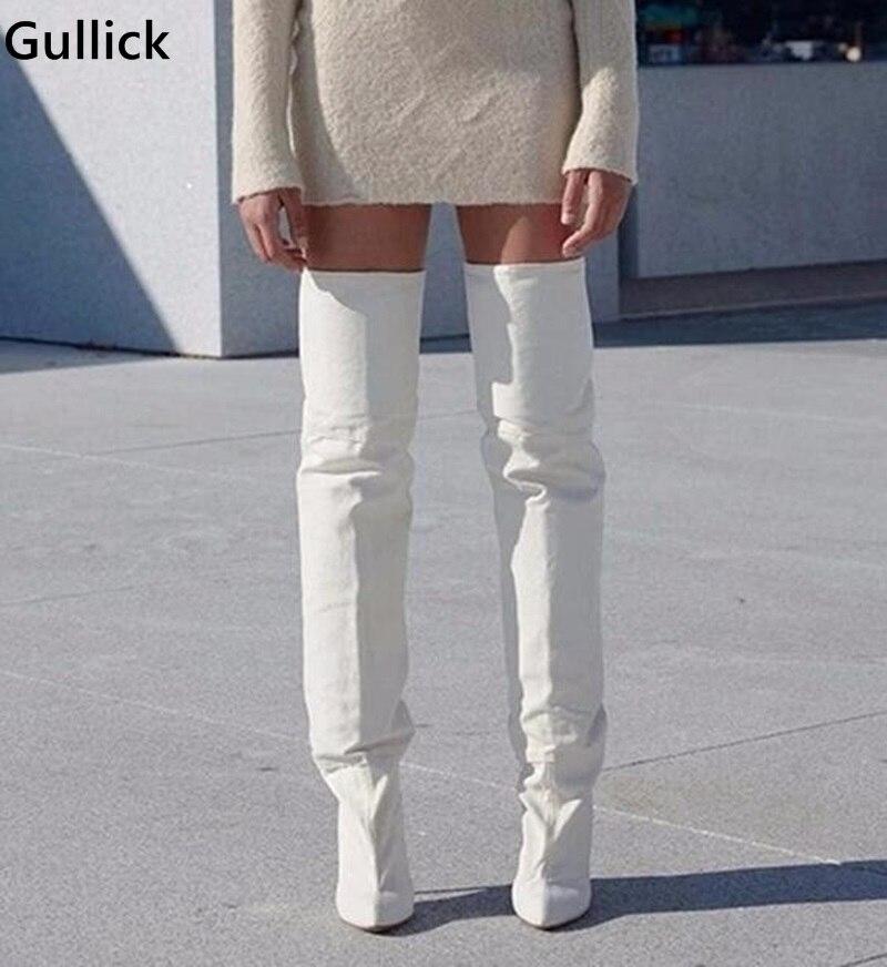 Новинка 2018, белые кожаные сапоги до бедра, Модные Дизайнерские Сапоги выше колена на не сужающемся книзу массивном каблуке, женская обувь дл