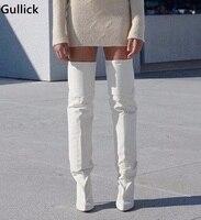 Новые 2018 белые кожаные сапоги до бедра модные дизайнерские коренастый сапоги выше колена высокий тонкий каблук женщина сценический обуви