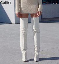 Новинка 2018 белые кожаные облегающие высокие сапоги модные