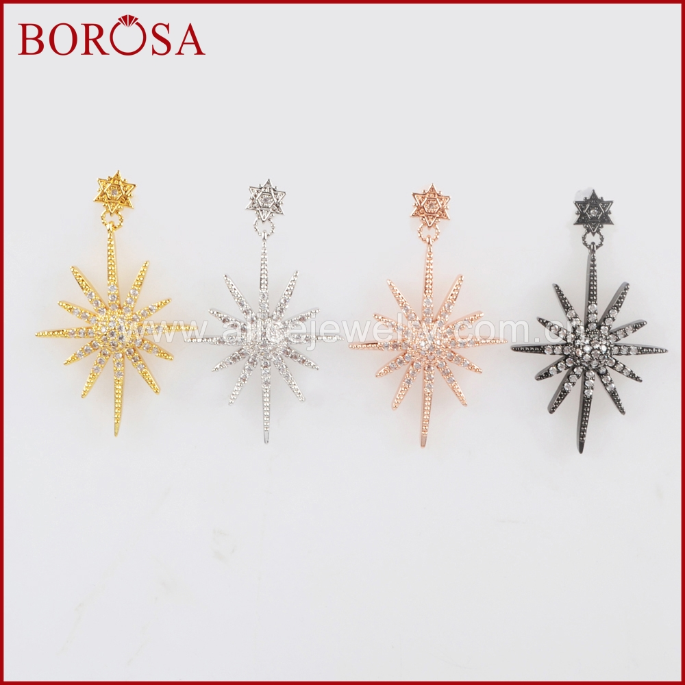 BOROSA CZ Micro Pave Star Charm Earrings,Mix Color Metal Earrings White Zircon Pave Drop Earrings for Women Girls WX684