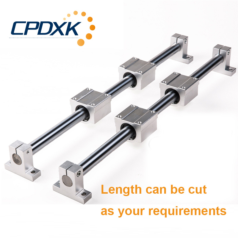 round linear rail 12mm linear shaft 400mm + linear bearing housing SCS12UU + linear rail clamp SK12 for linear guide 3d printer