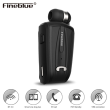 Fineblue F-V6 Wireless Bluetooth Earphones Portable Business Collar Clip-on Shrinkable Earbud Intelligent Hands-free Headset