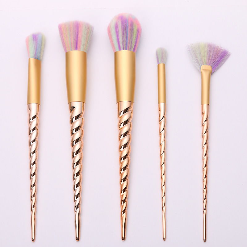 New 5pcs Rose Gold Unicorn Colorful Makeup Brushes Set Foundation Blending Power Eyeshadow Cosmetic Make Up Tools Set