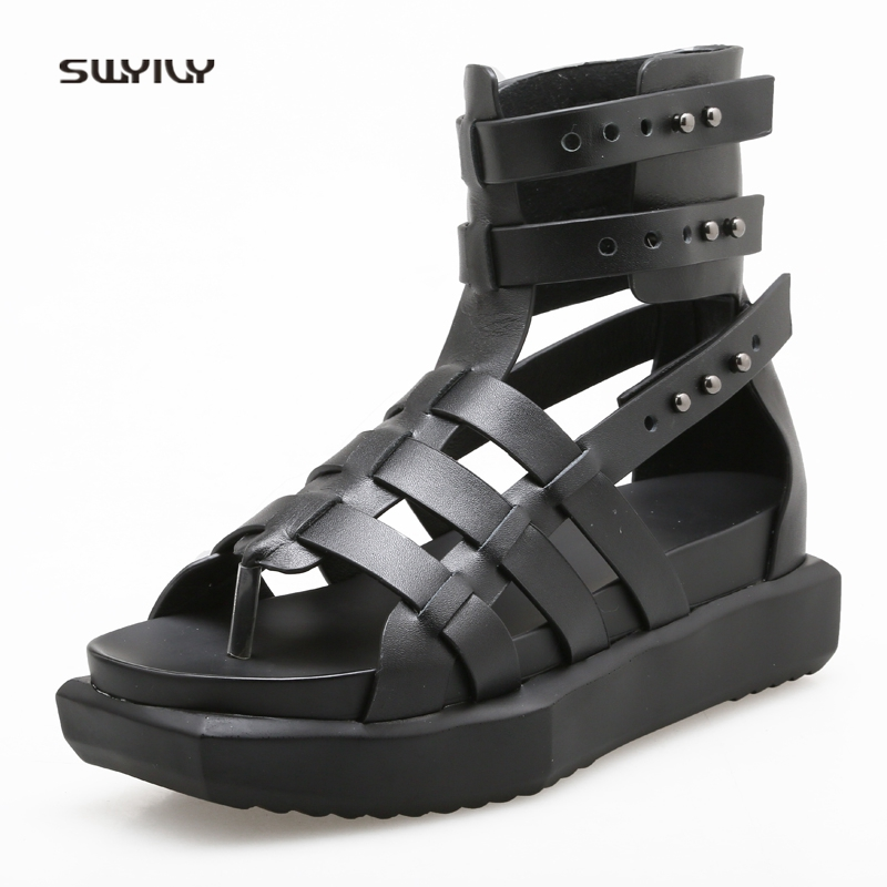 SWYIVY Womens Sandals Rome Shoes Summer 2018 High Top Casual Shoes Platform Genuine Leather Woman Sandals Filp Flops Rivet все цены