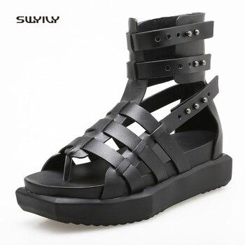 SWYIVY Womens Sandals Rome Shoes Summer 2018 High Top Casual Shoes Platform Genuine Leather Woman Sandals Filp Flops Rivet