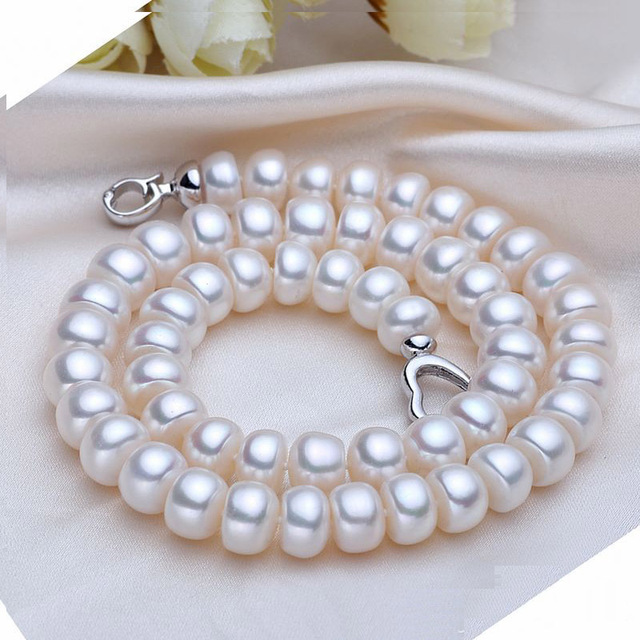 White Pearls Necklace natural Freshwater Pearl Necklace, Pearl Jewelry High Quality Silver Plated for Women